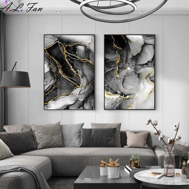 Современная Абстрактная живопись на холсте, черного и золотого цвета плакат живопись nordic настенные художественные плакаты и принты картины для гостиная домашний декор