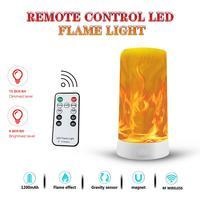 Lámpara de llama con efecto de detección de gravedad, linterna de LED con efecto de llama recargable por USB, control remoto inalámbrico IR, 4 modos