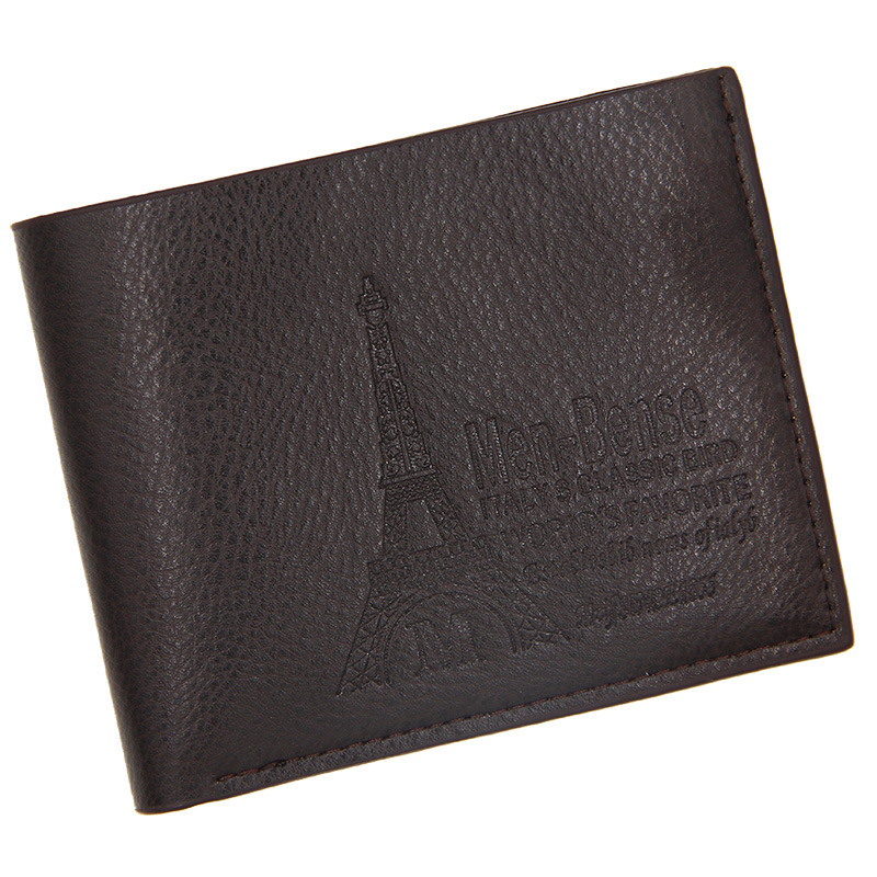 New Men's Wallet Short  Leather Solid Luxury Wallet Thin Lychee Pattern Purses Credit Card Holder Business Male Purse