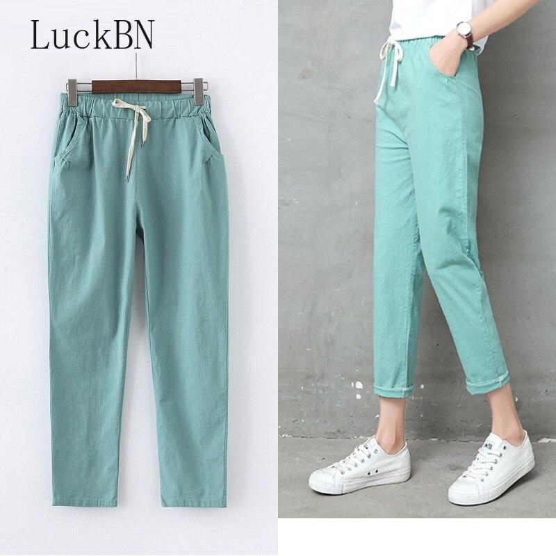 Autumn Cotton Linen Pants Women Candy Color Casual Loose Harem Pants For Women Ankle Length Trousers Female Elastic Waist Pant
