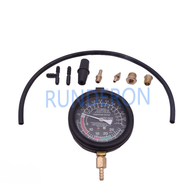 Car Repair Workstore Engine Intake Exhaust Pressure Detection Gauge Tools Kit