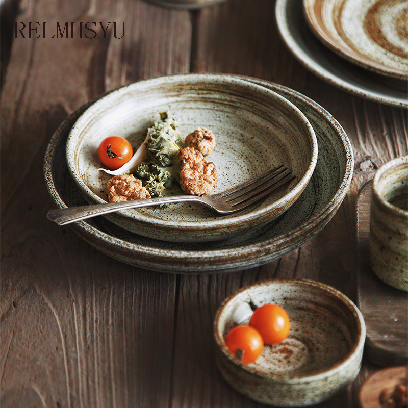 1PC RELMHSYU Japanese Style Ceramic Handmade Retro Round Western Dishes Steak Dinner Plate Rice Bowl Tea Cup Home Restaurant