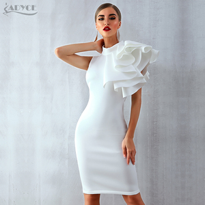 Image 5 - Adyce 2020 New Summer Women Red White Celebrity Runway Party Dress Vestido Sexy Sleeveless Ruffles Bodycon Midi Night Club Dress