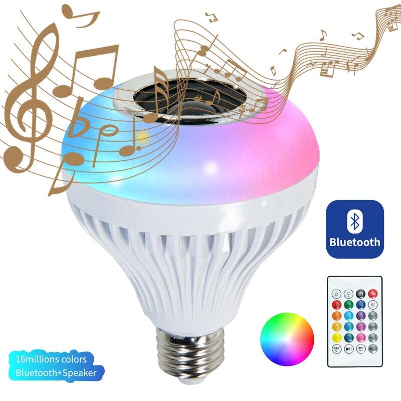 المنزل الذكي LED E27 RGB بلوتوث الموسيقى لمبة إضاءة التطبيق الذكي التحكم عن بعد الموسيقى مصباح 12 واط 15 واط مصابيح حفلات مصباح لتهيئة الجو