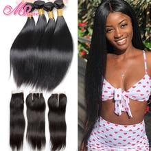 Перуанские прямые волосы с кружевной застежкой, свободная часть, 4 шт., пряди человеческих волос с закрытием, волосы Mshere Non Remy для наращивания 1B