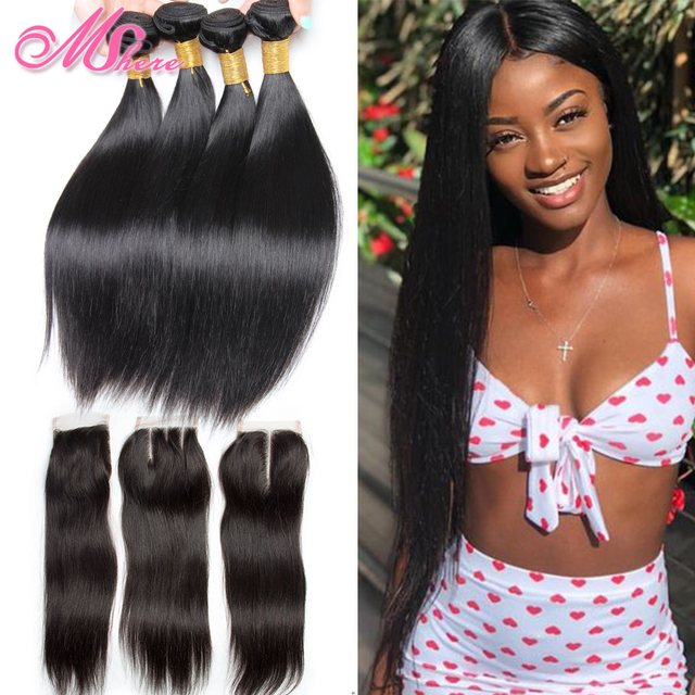 Peruvian Straight Hair With Lace Closure Free Part 4PCS Human Hair Bundles With Closure Mshere Hair Non Remy Hair Extensions 1B