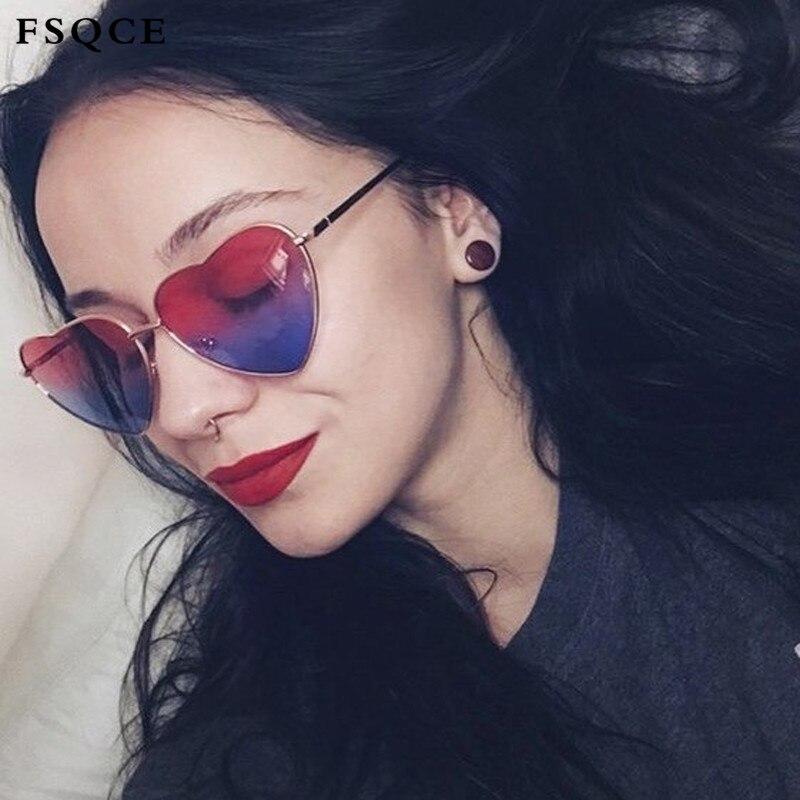 FSQCE occhiali da sole da donna a cuore senza montatura occhiali da sole da donna di lusso Designer di marca occhiali da sole retrò a forma di cuore UV400