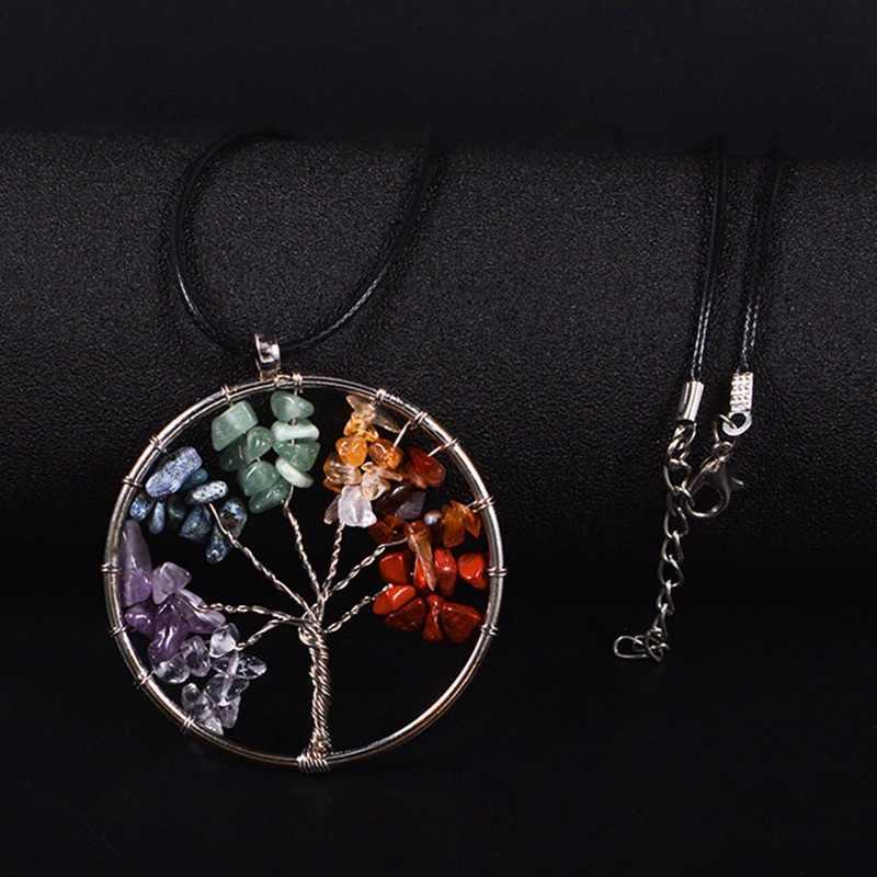 Nowa moda Rainbow kamień drzewo życia skórzany naszyjnik Multicolor mądrość drzewo naszyjnik z kamienia naturalnego