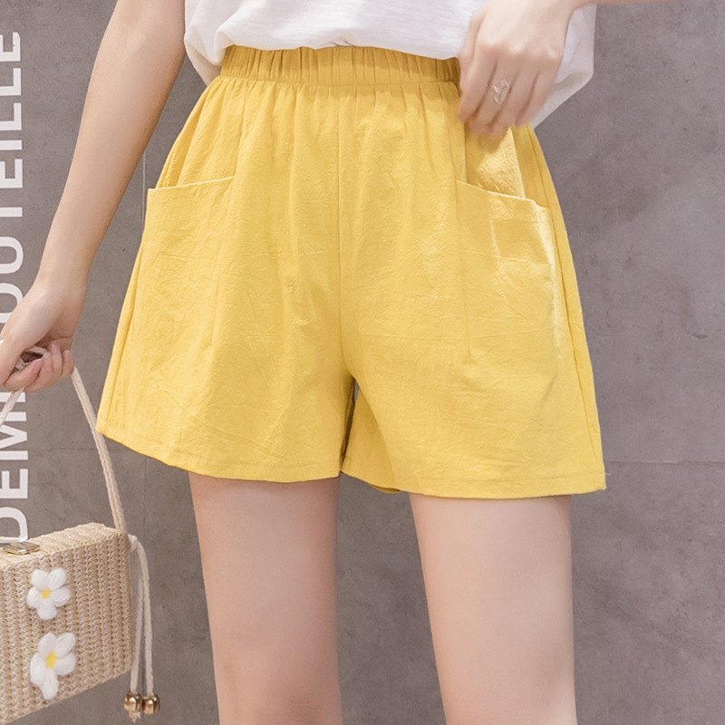 New Cotton Linen Shorts Women's High Waisted Shorts Solid Black White Yellow Wide Leg Summer Shorts Loose Korean Casual Trousers