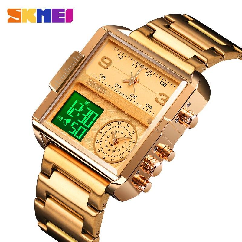 SKMEI Dual Time Sport Watches For Men Gold Luxury Digital Watch Waterproof Analog Quartz Wristwatch Relogio Masculino 1584