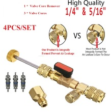 """1PC HVAC Valve Core Remover Dual Size 5/16""""&1/4"""" Port Installer Ball Valve Adapter Auto Air Condition Refrigeration Tools"""