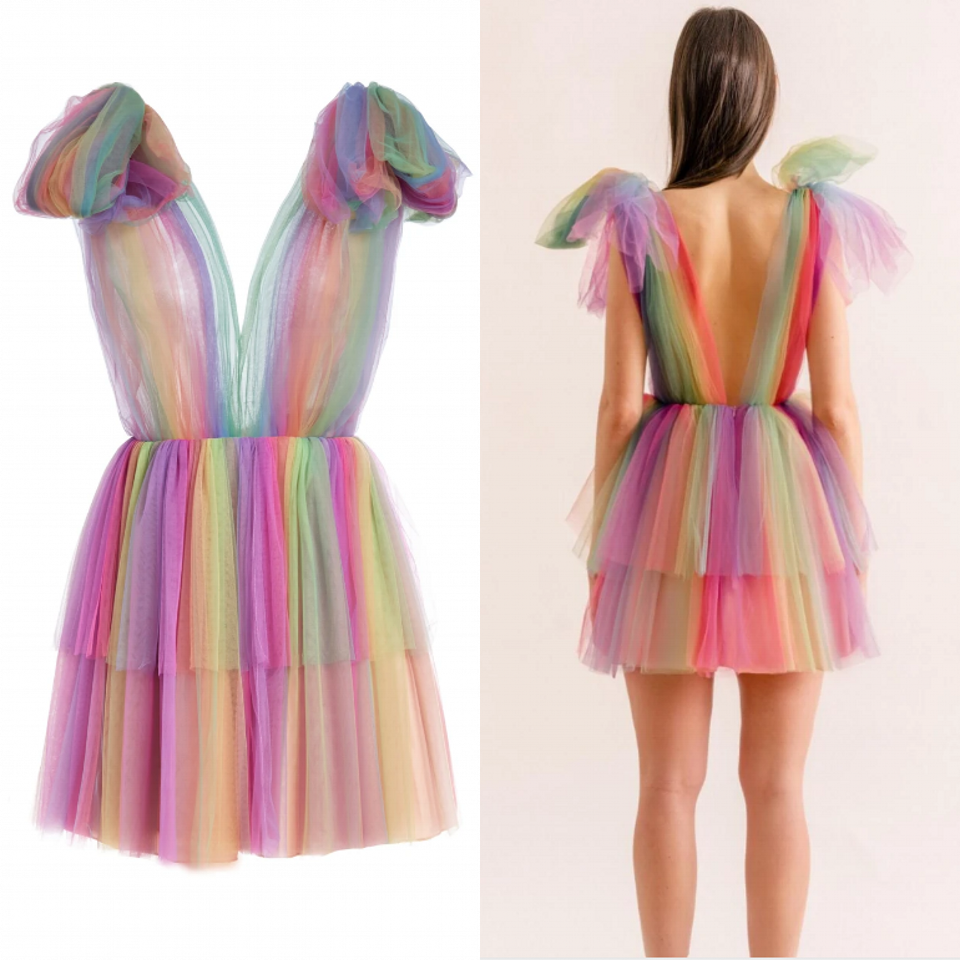 2020 Colorful Tulle <font><b>Dresses</b></font> Women Short <font><b>Dress</b></font> <font><b>Sexy</b></font> <font><b>Deep</b></font> <font><b>V</b></font> <font><b>Neck</b></font> <font><b>Sleeveless</b></font> Bow Party Prom Girl Beautiful <font><b>Mini</b></font> <font><b>Dresses</b></font> image
