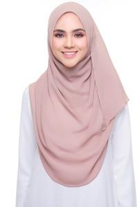 Image 1 - Простой пузырьковый шифоновый хиджаб платок шарф для женщин 2019, однотонные длинные шали и накидки, мусульманские хиджабы, шарфы, женский платок для женщин