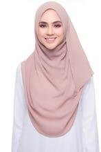 일반 거품 시폰 Hijab 목도리 스카프 여성 2019 단색 긴 Shawls 및 랩 이슬람 Hijabs 스카프 숙녀 Foulard Femme