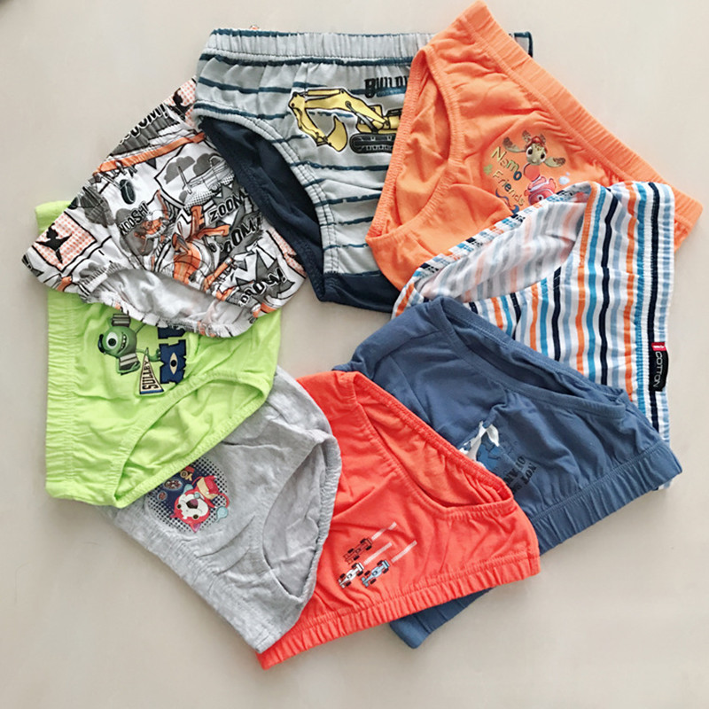 6/pcs Boy's Underwear Children's Brief Underwear Cotton Cartoon Cotton Kids Underwear 2-6 Years