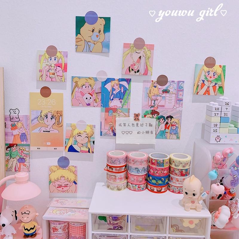 15pcs/pack Sailor Moon Cartoon DIY Scrapbook Craft Kawaii Room Wall Fridge Picture Photo Accessories Party Home Decor