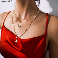 Bohemian Layered Cross Pendant Choker Necklace 2019 Simple Jesus Virgin Mary Coin Pearl Chain Necklace Christian Couple Jewelry ingemark vintage virgin mary pendant choker necklace multi layer crystal clavicle long chain necklace christian couple jewelry