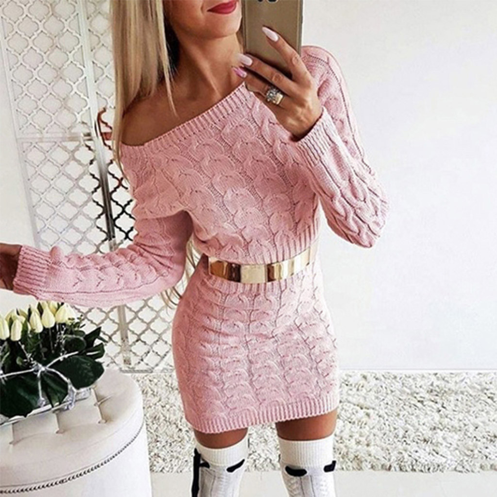 платье 2021 Dresses For Women Mid-Autumn and Winter Long Twisted Sweater Dresses Vintage Sexy Party  платья на новый год2021