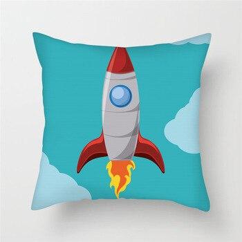 Cartoon Rocket  Cushion Cover  1