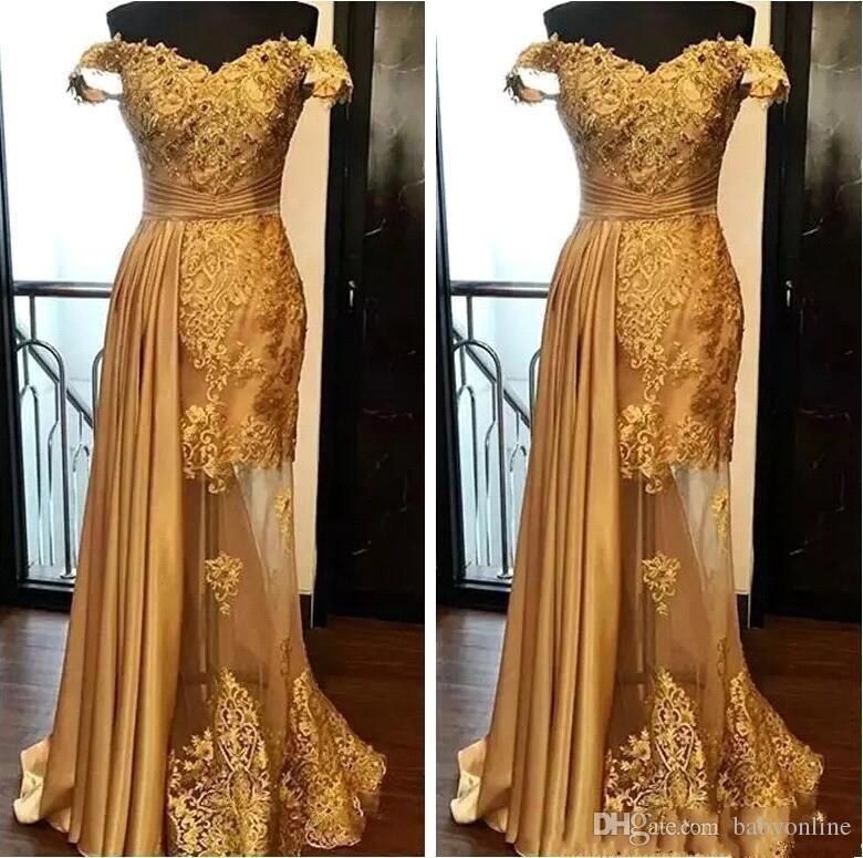 2019 Off The Shoulder Long Evening Dresses Arabic Golden Applique Ruched Beaded Floor Length Pageant Formal Party Evening Dress
