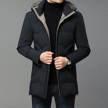 New High Quality Down Jacket Men Hooded Duck Down Parka Coat Men Warm Winter Mens Jacket Fashion Slim Overcoat Male Down Jacket недорого