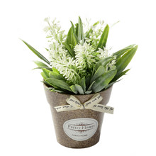 Fake Flowers Grass With Plastic Pot Bonsai Artificial Potted Flowers For Rustic Wedding Party Garden Farmhouse Decoration(China)