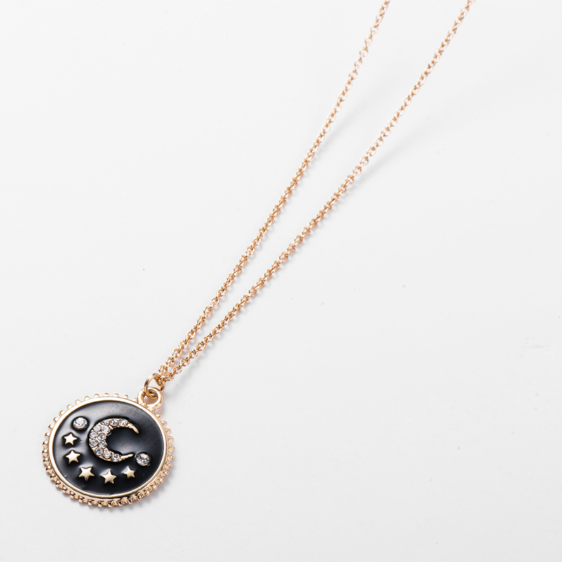 Fever Free New Arrival Fashion Jewelry Round Gold Crystal Moon Star Pendant Necklace Exquisite Black Enamel Carved Gold Necklace in Pendant Necklaces from Jewelry Accessories