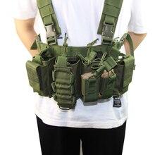 Equipamento militar colete tático airsoft paintball transportadora greve chaleco peito rig pacote bolsa peso leve colete resistente