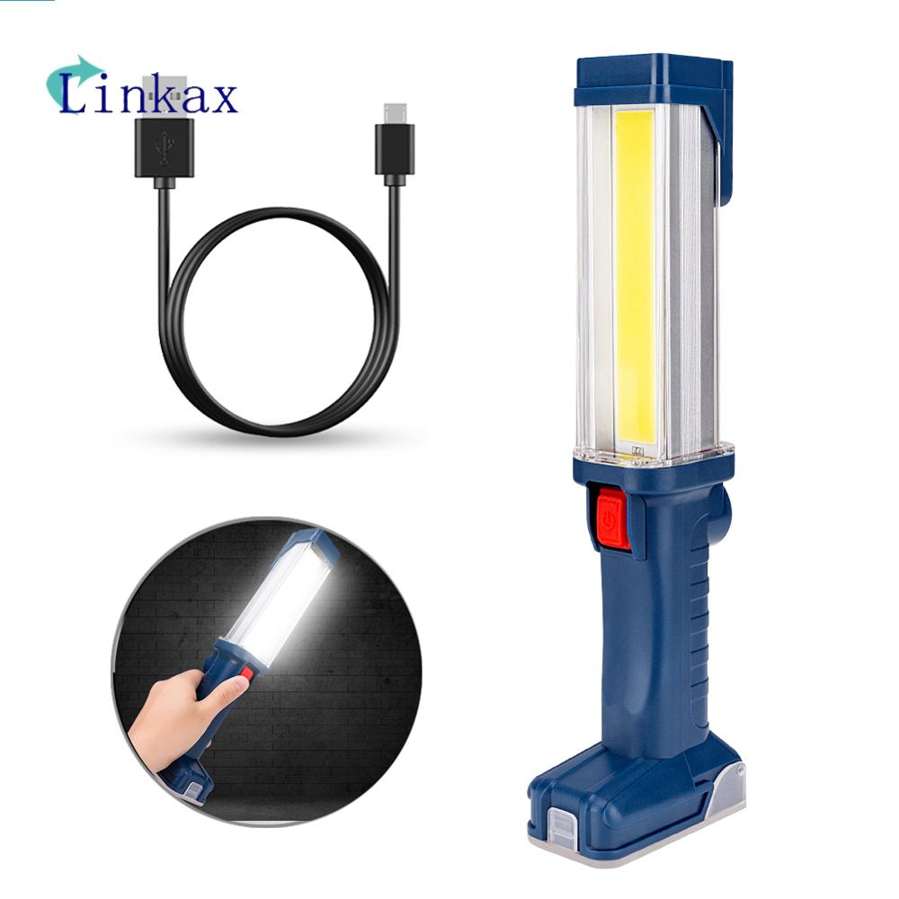 LED COB Flashlight Torch USB Rechargeable LED Work Light Magnetic COB Lanterna Hanging Hook Lamp For Outdoor Camping