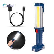 Linterna LED COB recargable por USB, luz de trabajo, COB magnético, lámpara con gancho para colgar, para acampar al aire libre