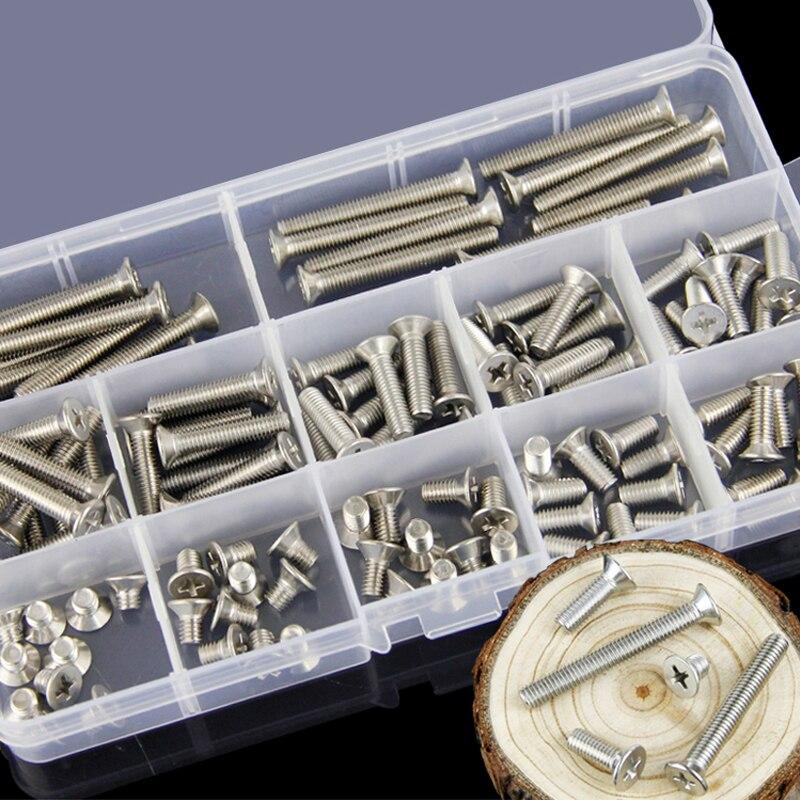 1 Set M2/M3/M4/M5/M6 304 Stainless Steel Phillips Flat Screws Bolt Nut Washers Assortment Kit Hardware Fasteners Nut Bolt Sets