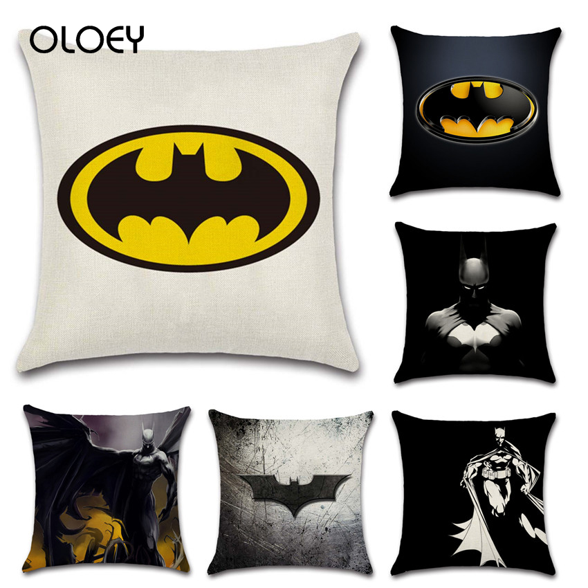Movie Comics Batman Logo Mark Cushion Cover Car Decoration For Family Kids Boys Bedroom Gifts Friends Gifts Comfortable Soft  ..
