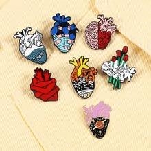 7 estilo artístico esmalte pinos anatômico coração neurologia broche médico e enfermeira lapela emblemas pinos amigo presentes para o novo yea