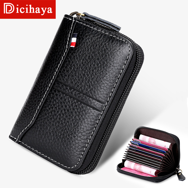 DICIHAYA Business Card Holder Women Men ID Credit Card Holder Card Wallet  Leather Function Double Zipper Card Case Short Wallet