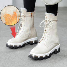 Plus Size 34-43 Genuine Leather Shearling Wool Fur Lined Women Ankle Winter Boots Women Shoes Short Snow Boots Warm Martin Boots mljuese 2019 women ankle boots soft cow leather lace up winter warm fur white color female boots women martin boots size 33 43