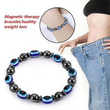 Fashion Weight Loss Round Black and Blue Stone Magnetic Therapy Bracelet Health