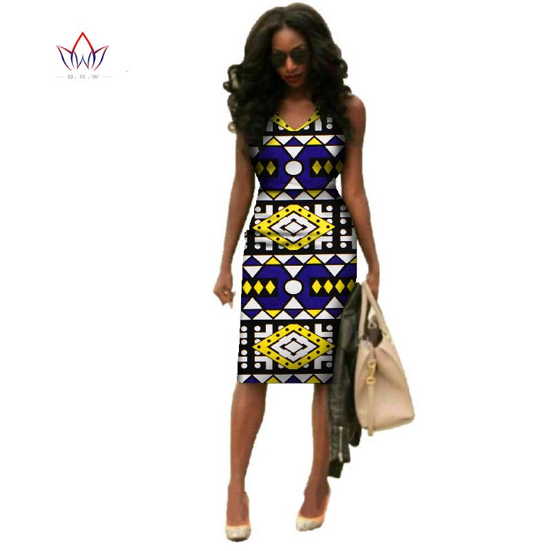 Vestidos African Dresses For Women Dashiki Plus Size Fashion African Wax Print Dresses Bazin Riche Africa Dresses WY237