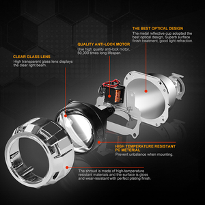 Image 2 - ミニ2.5インチバイキセノンプロジェクターレンズマスクシルバーシュラウドのためフィットH4 h7ソケット車のヘッドライトヘッドランプ使用H1キセノンled電球