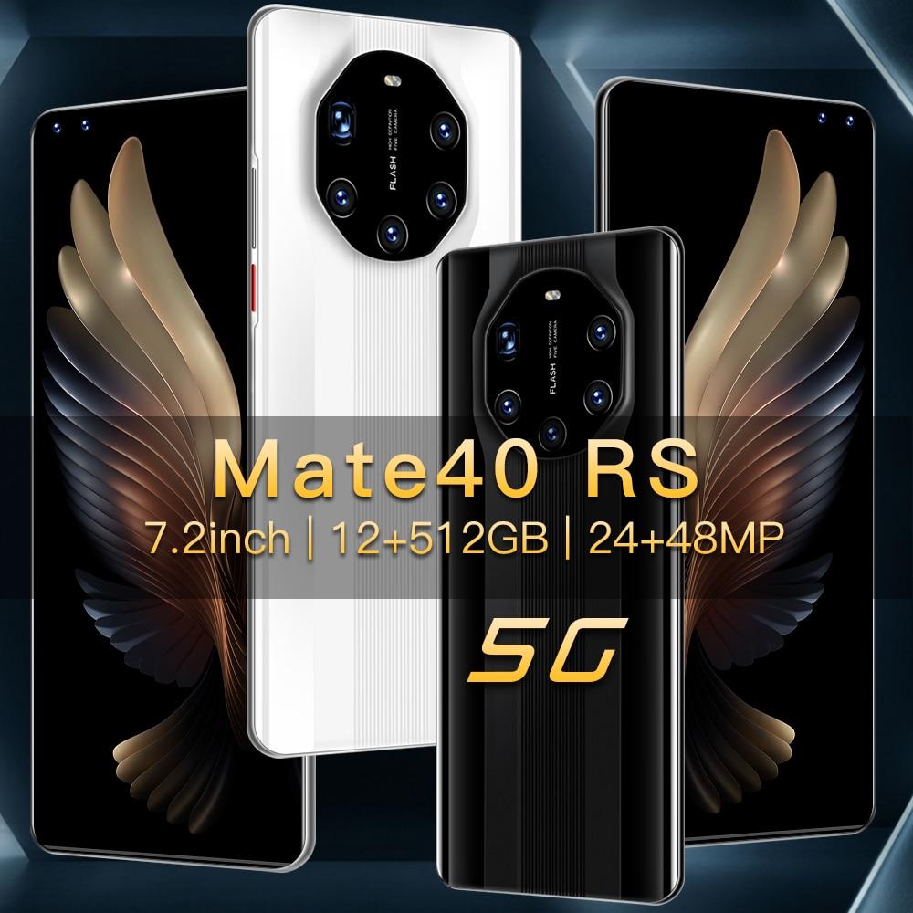 "Huawei Mate40 RS küresel Smartphone 7.2 ""5800mAh arka beş kamera 48MP Snapgragon865 cep telefonu 12GB + 512GB android10 telefon 4G5G LTE"