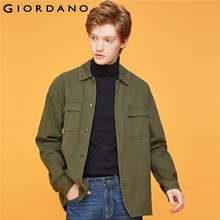 Giordano Mannen Jassen Flap Zakken Turn-down Kraag Jas 100% Katoen Losse Fitting Knop Jaqueta Masculino 01079676(China)