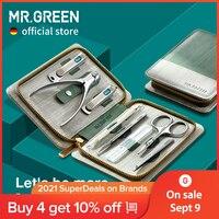 Set Manicure MR.GREEN Set Pedicure tagliaunghie strumenti professionali per tagliaunghie in acciaio inossidabile con Kit custodia da viaggio