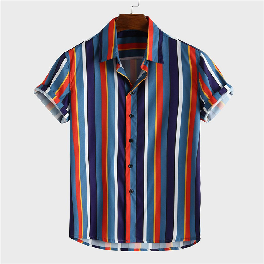 KLV Shirt Men's Breathable Stripe Summer Short Sleeve Loose Buttons Casual Shirt Blouse Holiday Beach Shirts Men Summer Tops