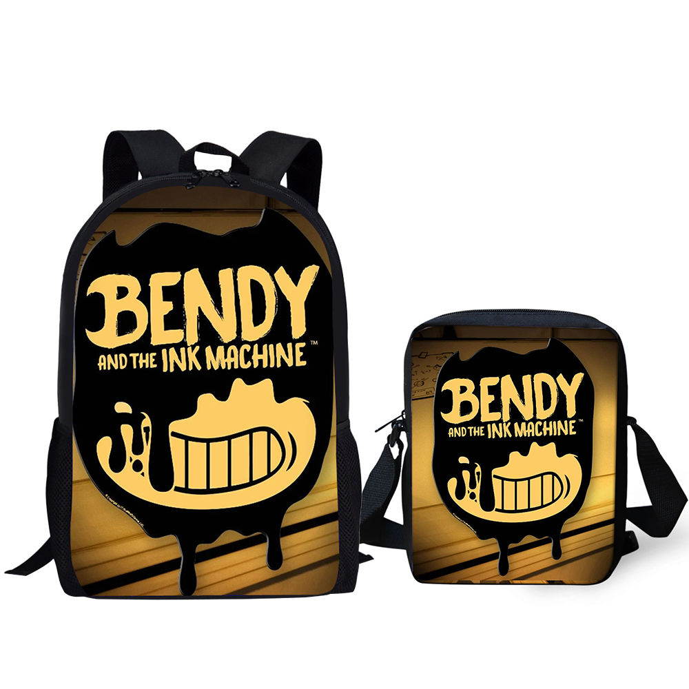 HaoYun Fashion Kids Backpack Bendy and the Ink Machine Pattern School Book Bags Students 2PC Set Backpack/Flaps Bag/Pen Bags title=