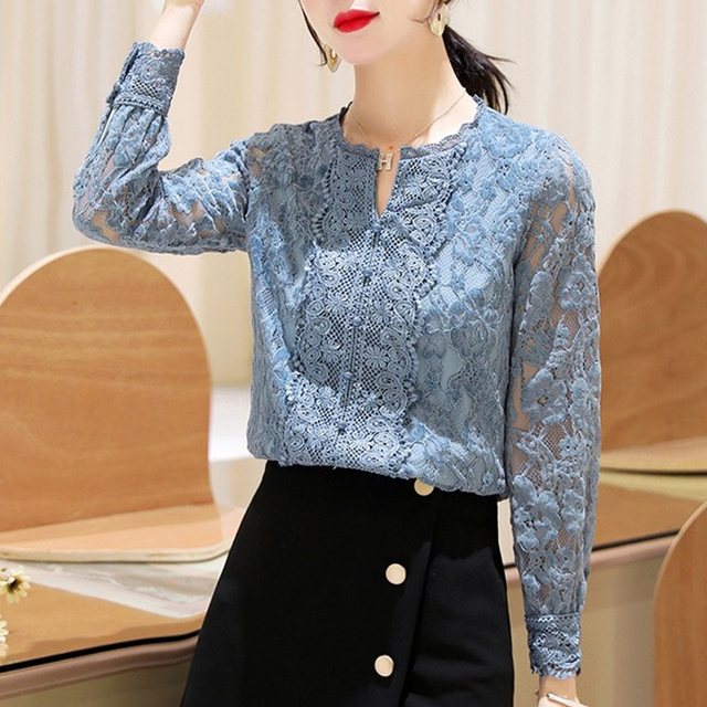 Autumn Fashion Vintage Blouse Women 2021 New Long Sleeve Floral Lace Womens Blouse Office Lady Casual Shirt For Women Tops 11303 4