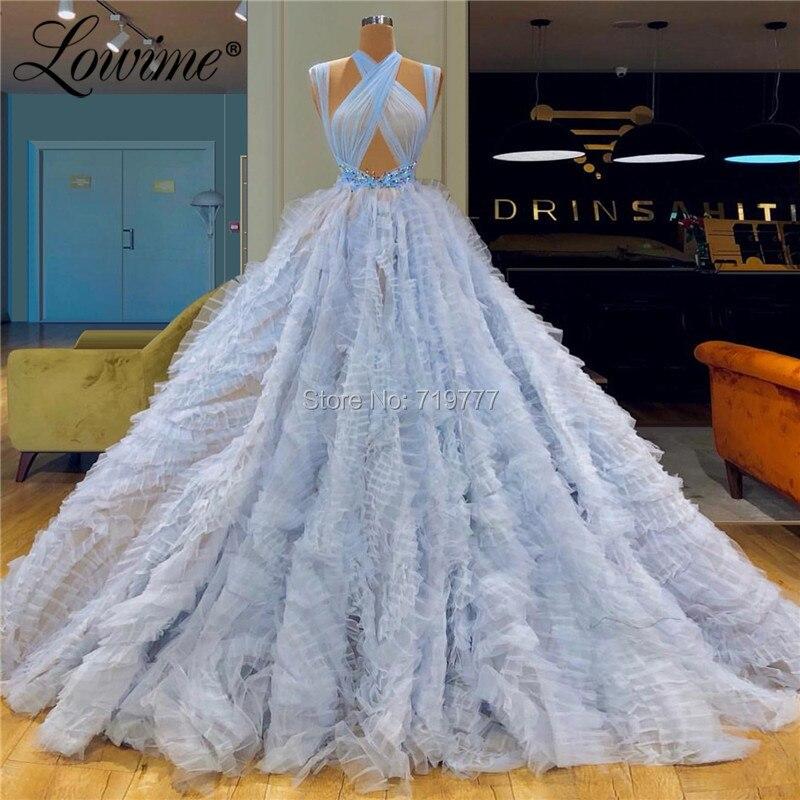 Dubai Arabic   Evening     Dress   Vestido De Festa Tulle Prom   Dresses     Evening   Gowns Long Abiye 2019 Party   Dress   Robe De Soiree Couture