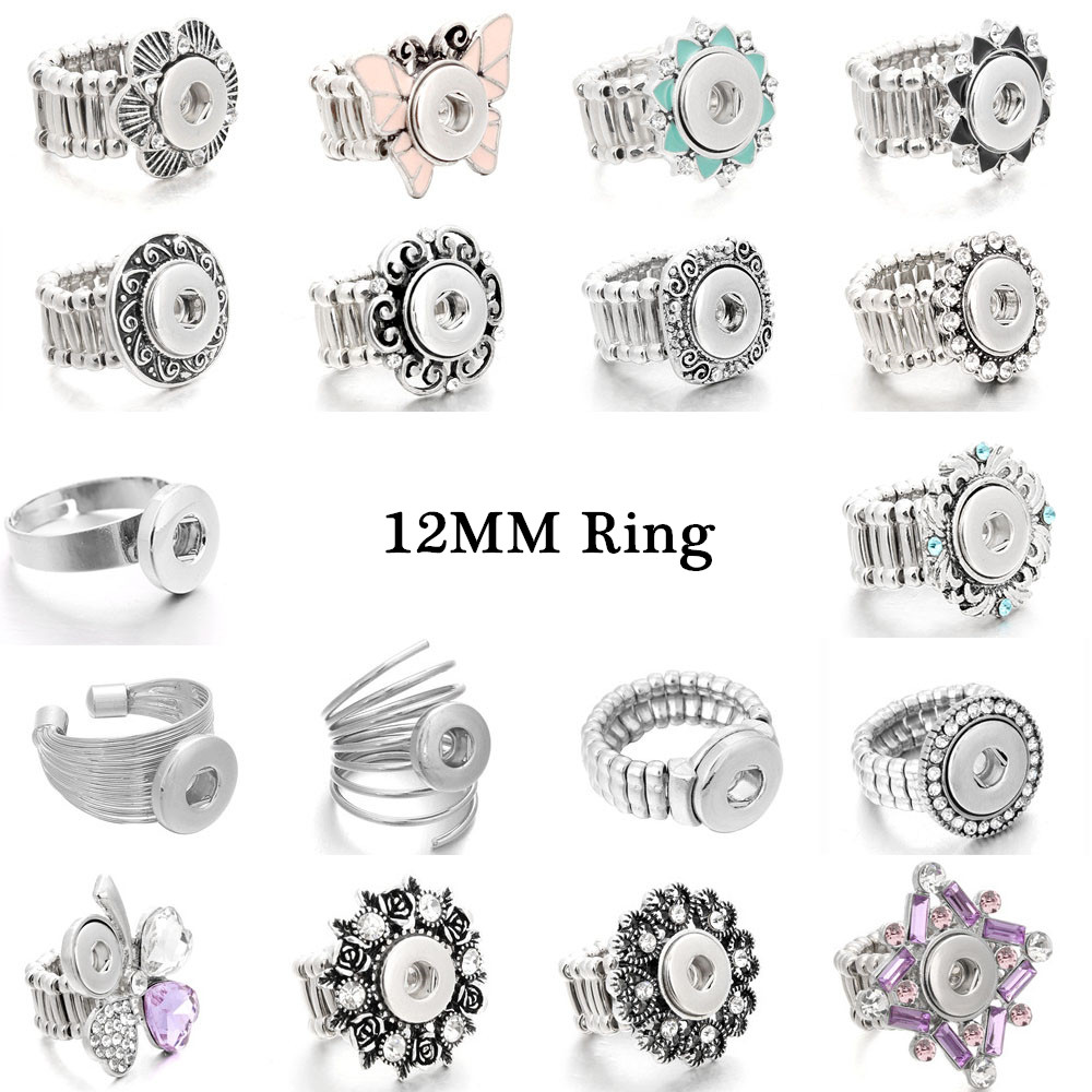 Fashion Snap Jewelry Metal Interchangeable Snap Ring Fit Mini 12mm Snap Button Rings For Women Jewelry image