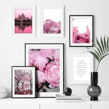 Pink Forest Flower Old Building Wall Art Canvas Painting Nordic Posters And Prints Landscape Pictures For Living Room Decor