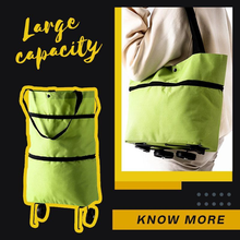 2 In 1 Foldable Shopping Cart With Wheels Shopping Pull Cart Trolley Bag Food Organizer Reusable Grocery Bags High Capacity