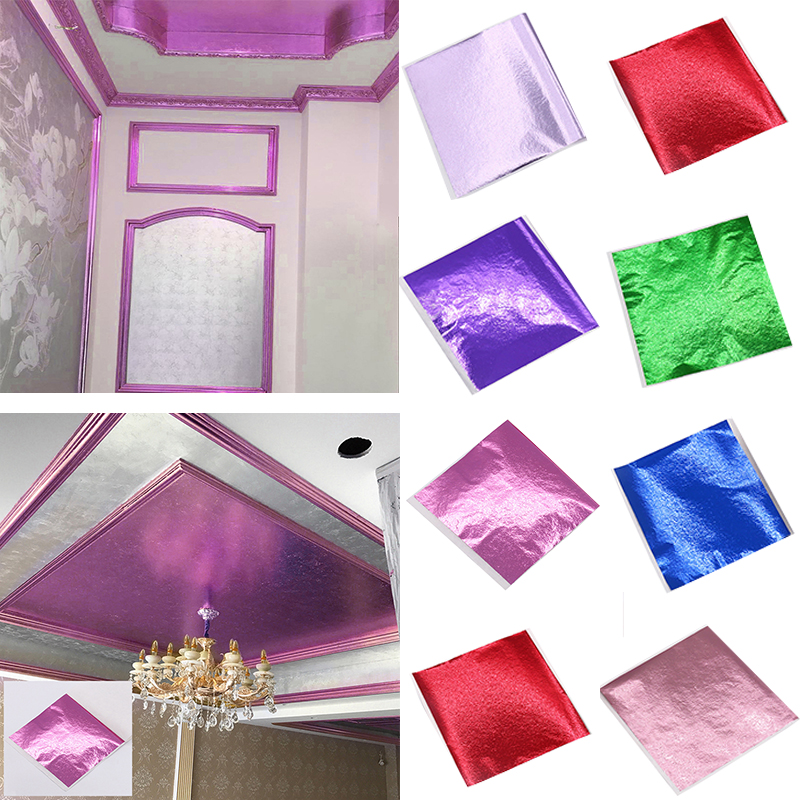 50X Gold/Silver/Copper Foil Double Sided Paper Decoration Gilding DIY Crafts