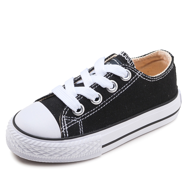 Girls Canvas Shoes Spring Autumn Black Running Sneakers Children Kids Shoes Soft And Comfortable Boys Flat School Shoes